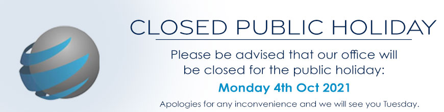 Closed 4th Oct 2021 Public Holiday